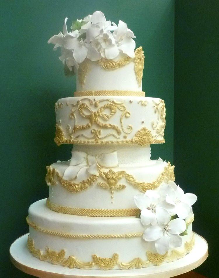 Wedding Cakes With Gold Accents  Cakes Washington DC Maryland MD Wedding Cakes Northern VA