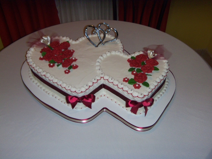 Wedding Cakes With Hearts  Double Heart Wedding Cake CakeCentral