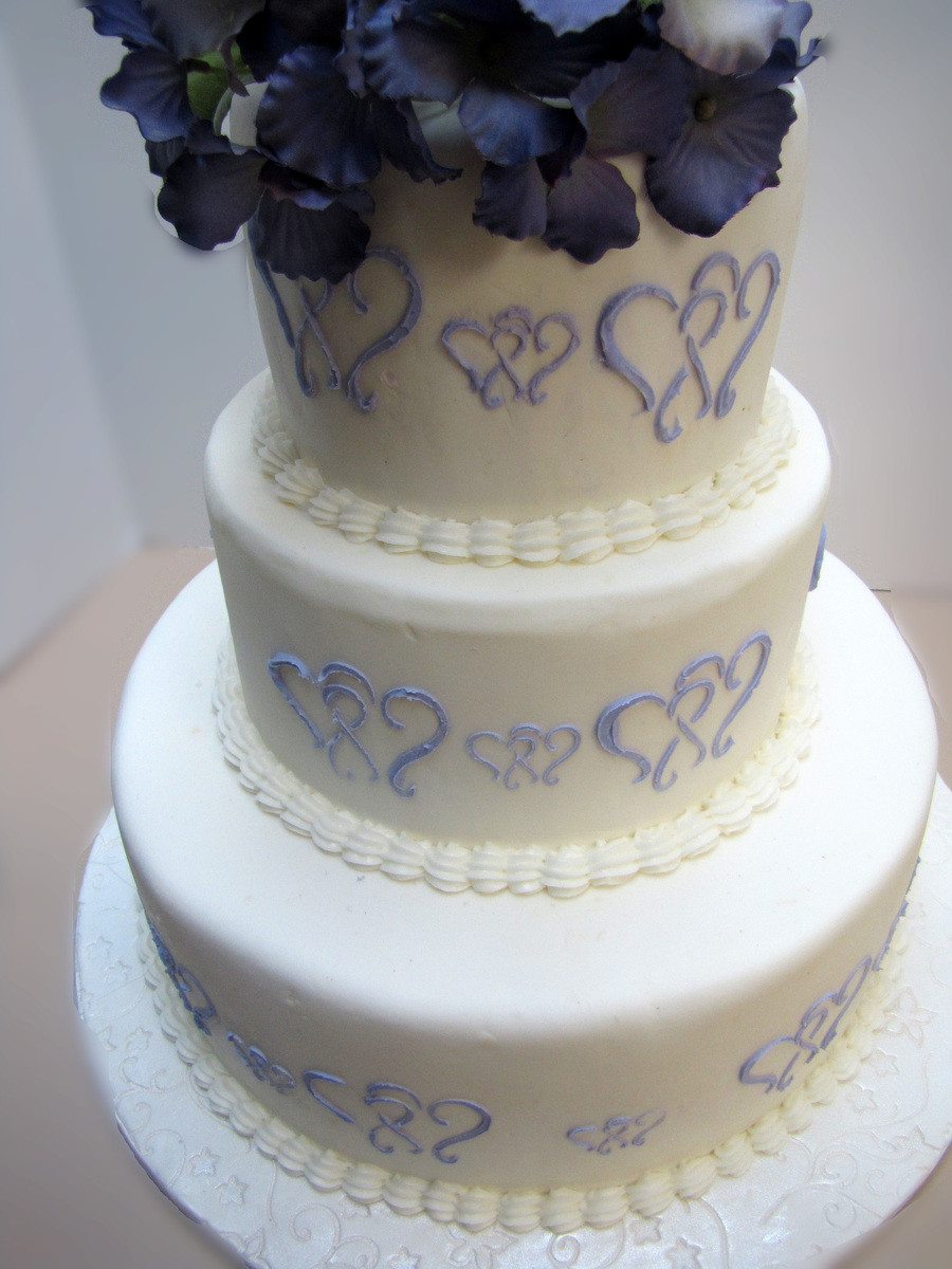 Wedding Cakes With Hearts  Purple Heart Wedding Cake CakeCentral