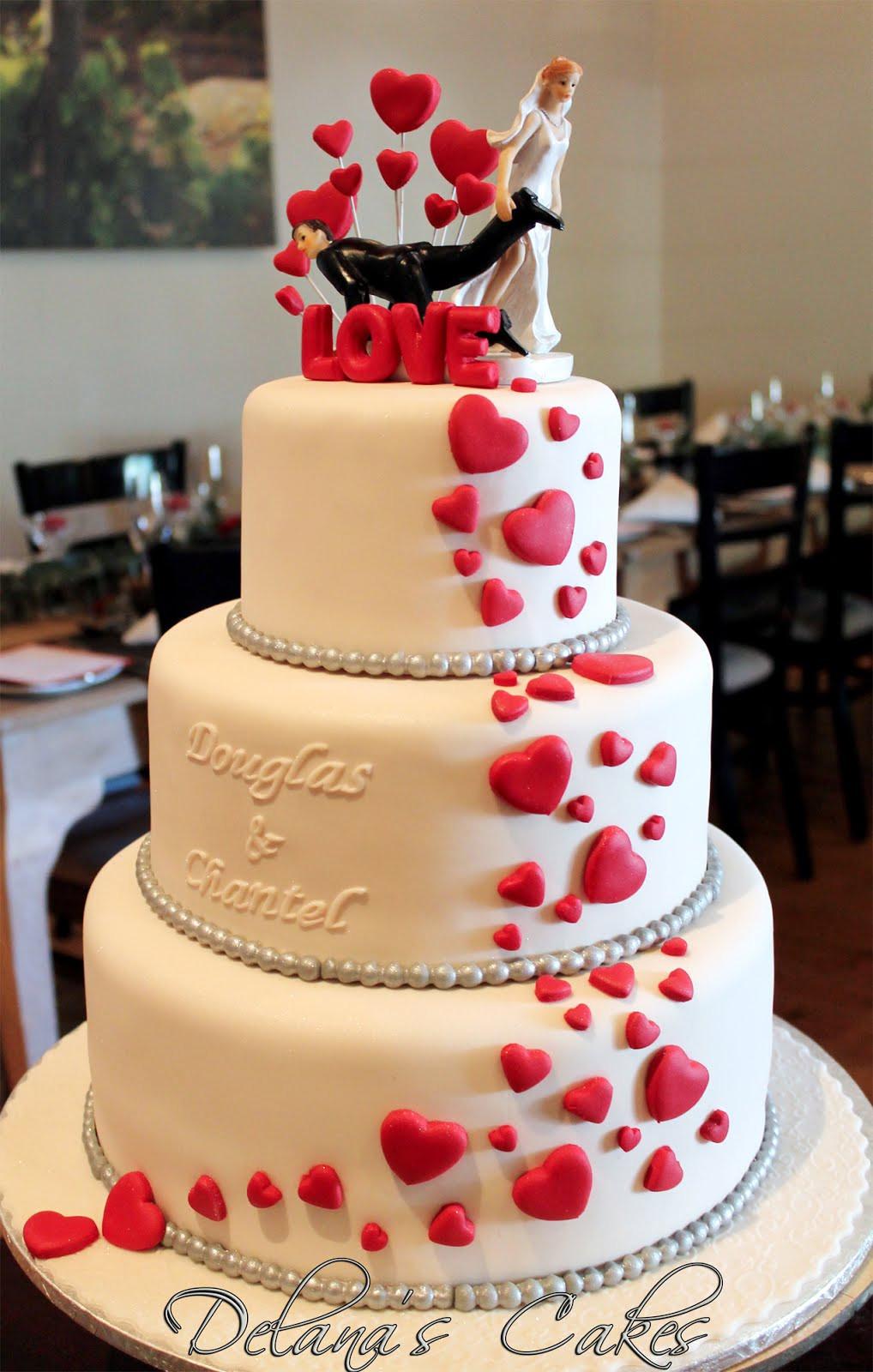 Wedding Cakes With Hearts  Delana s Cakes Hearts Wedding Cake