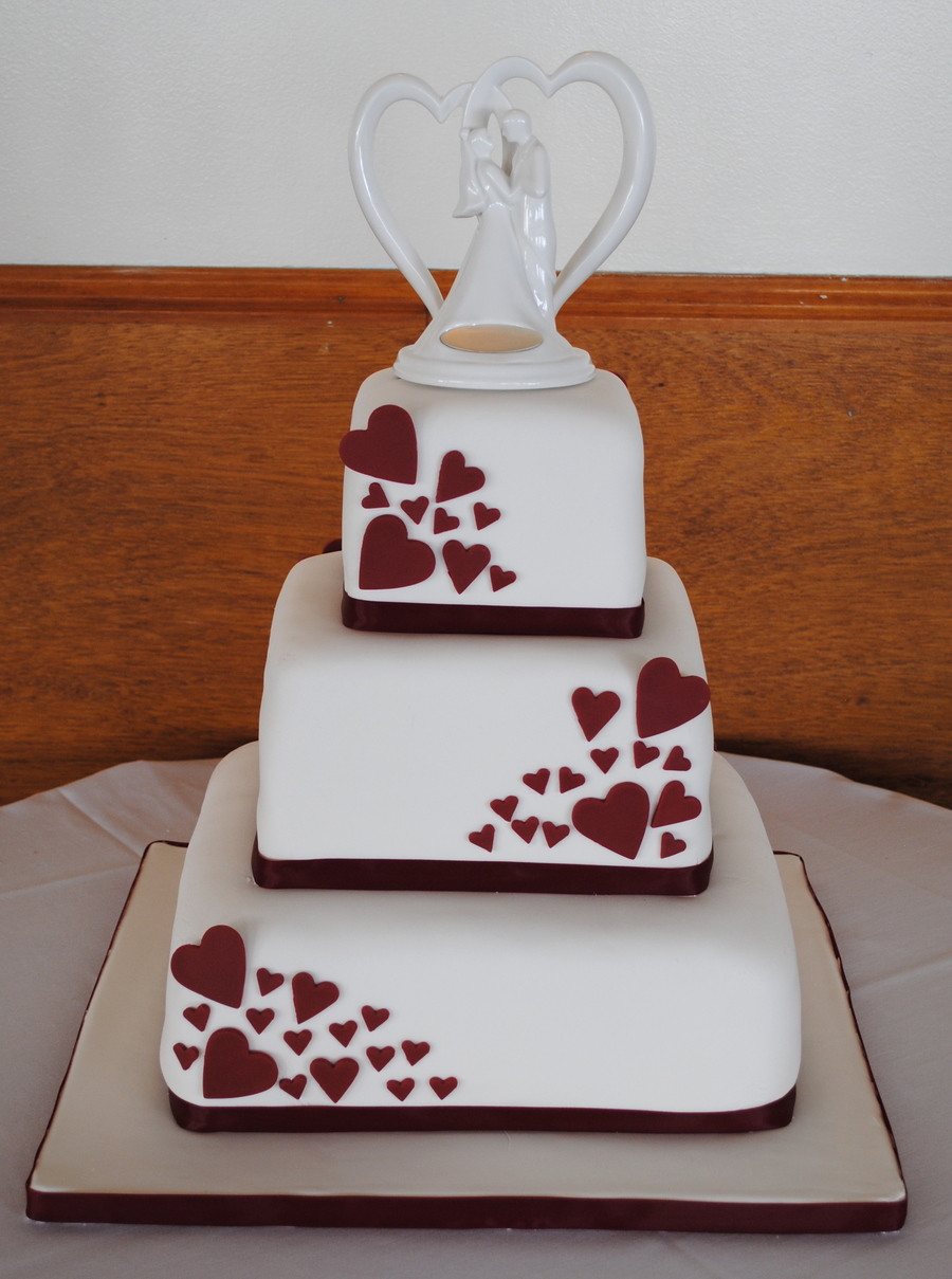Wedding Cakes With Hearts  Square Wedding Cake With Hearts CakeCentral