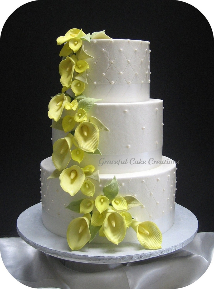 Wedding Cakes With Lilies  Yellow Calla Lily Wedding Cake CakeCentral