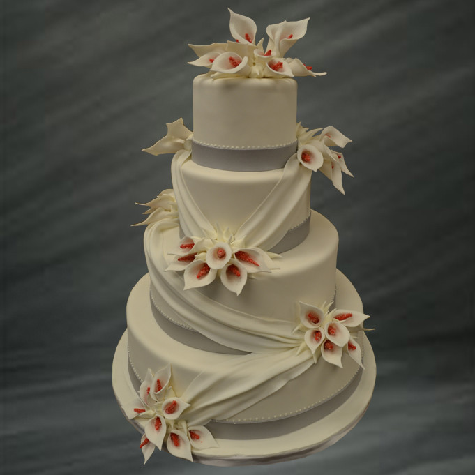 Wedding Cakes With Lilies  Calla Lily Wedding Cake • Palermo s Custom Cakes & Bakery