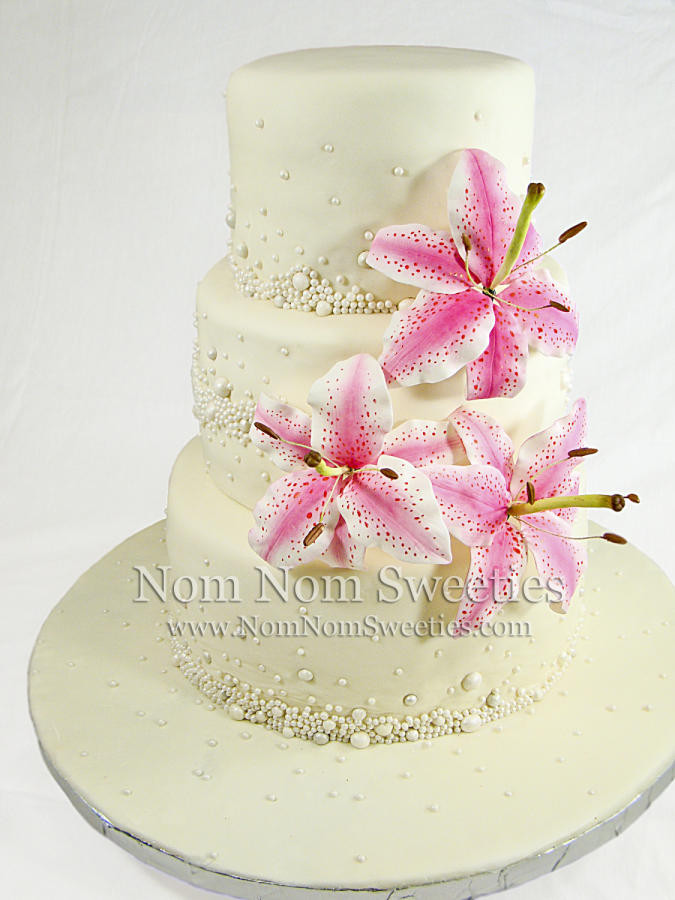 Wedding Cakes With Lilies  Stargazer Lily Wedding Cake cake by Nom Nom Sweeties