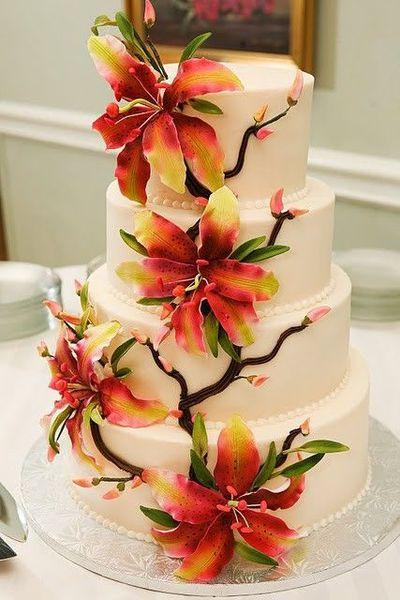 Wedding Cakes With Lilies  Stargazer lily wedding cake wedding cakes Juxtapost