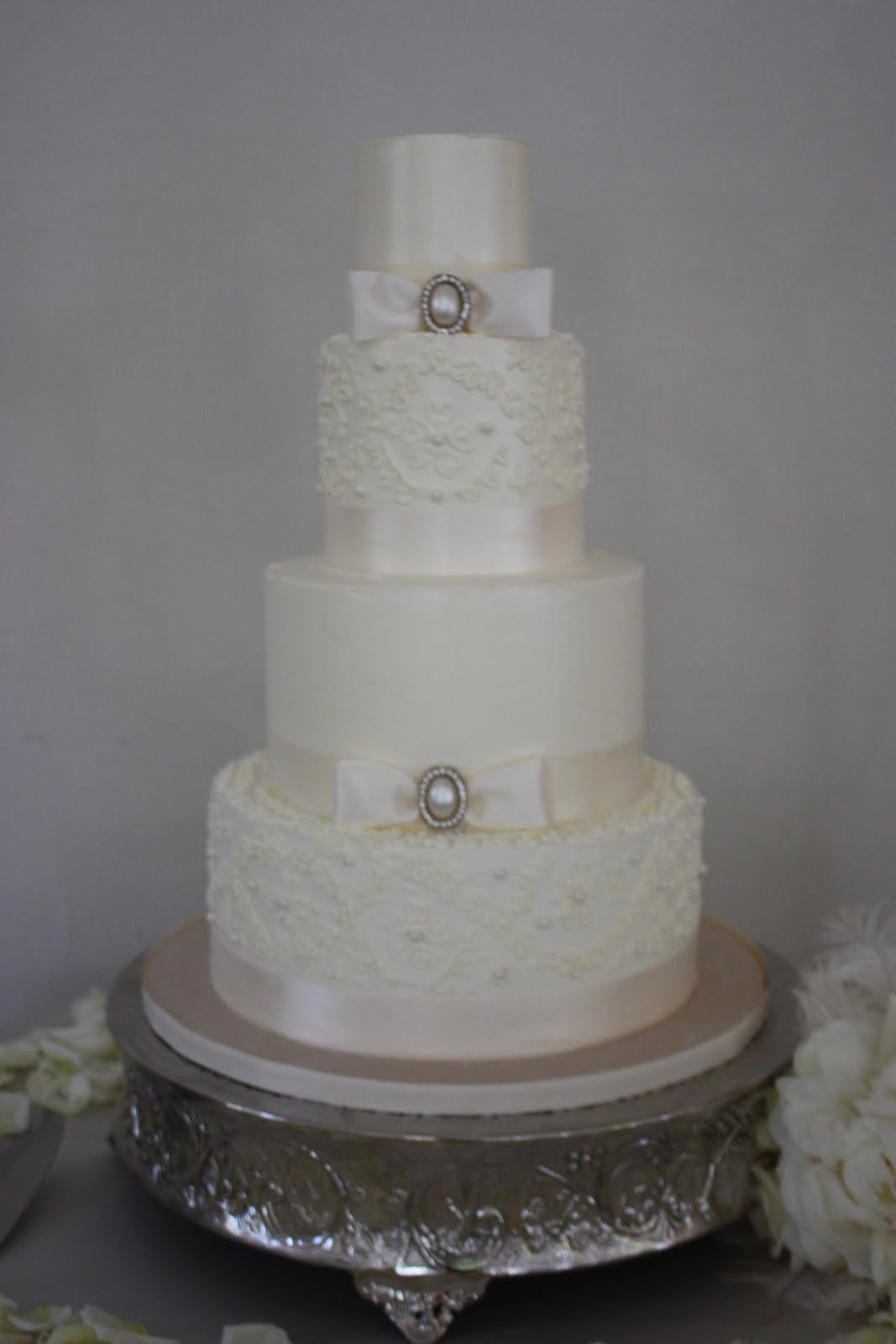 Wedding Cakes With Pearls  The Sugar Suite Blog Alencon Lace and Pearl Wedding Cake