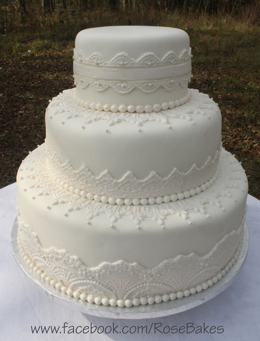 Wedding Cakes With Pearls  Elegant White Lace & Pearls Wedding Cake CakeCentral