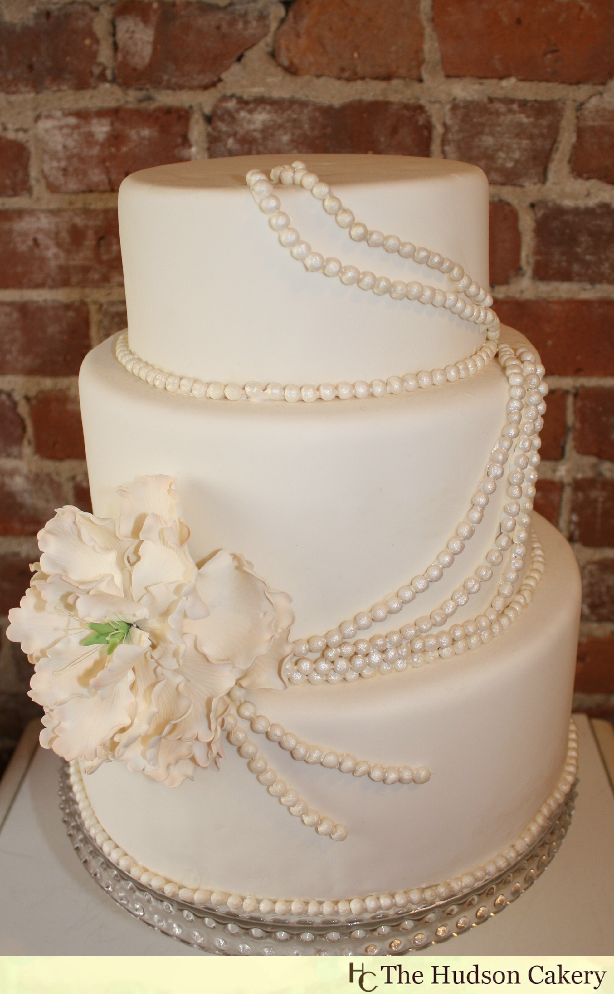 Wedding Cakes With Pearls  Sugar Peony and Pearl Cake