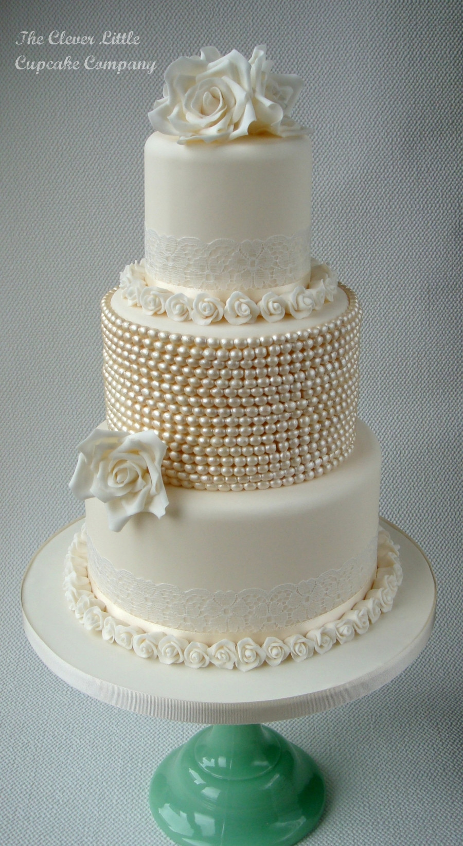 Wedding Cakes With Pearls  Vintage Lace And Pearl Wedding Cake CakeCentral