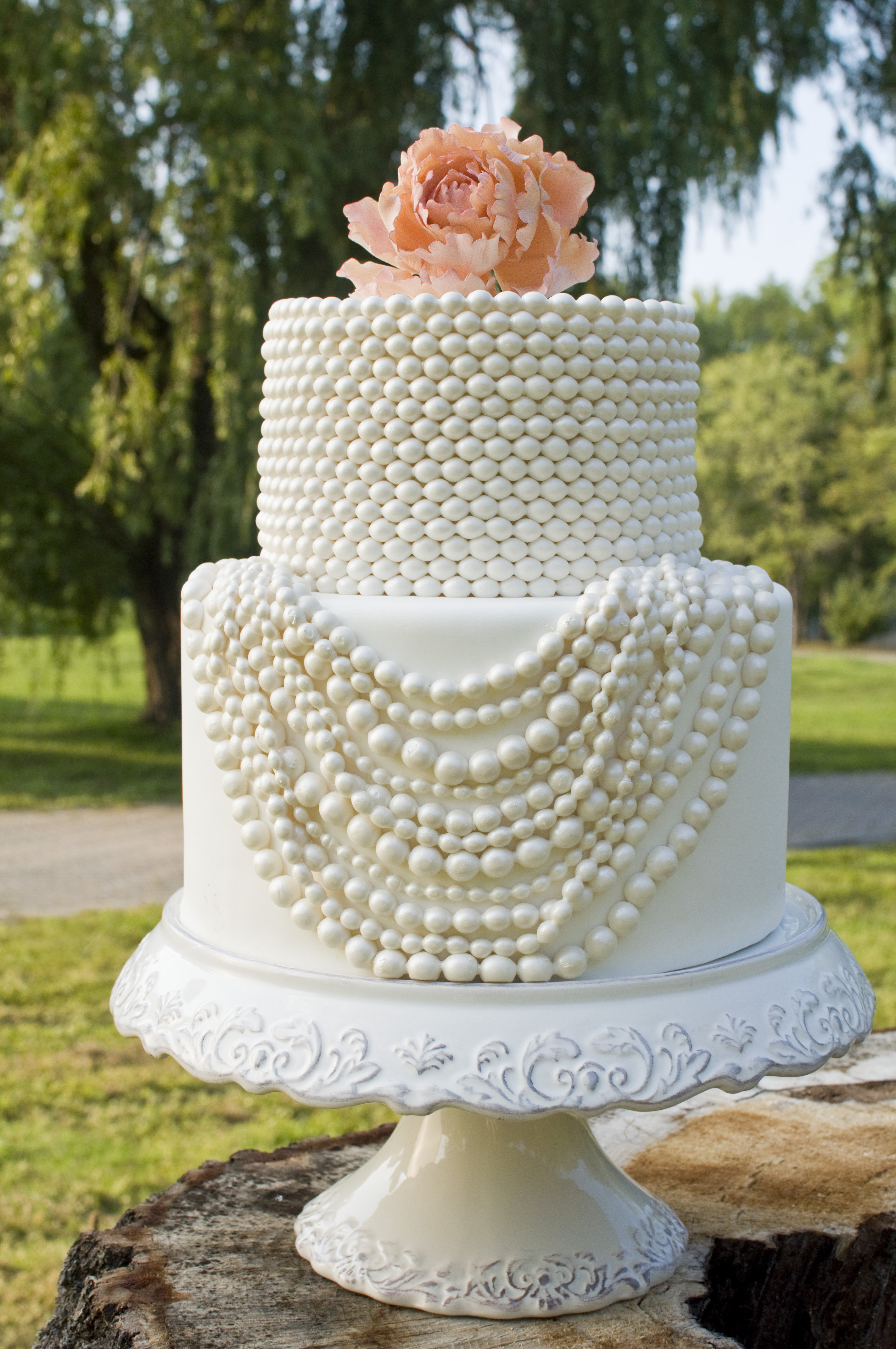 Wedding Cakes With Pearls  Visions of Pearls