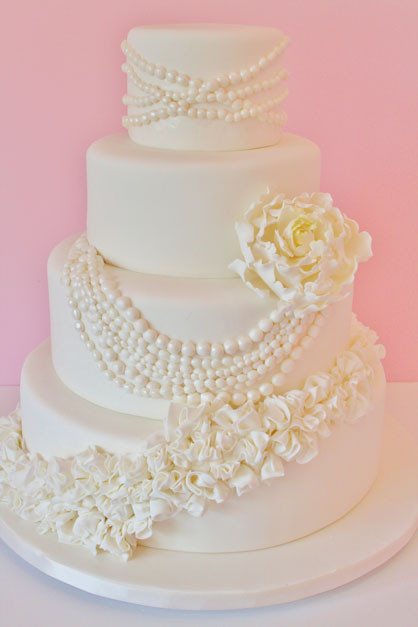 Wedding Cakes With Pearls  Wedding Cakes NJ Pearls and Ruffles Custom Cakes