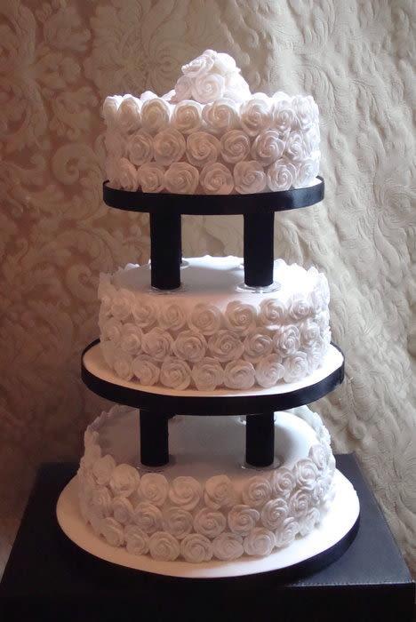Wedding Cakes With Pillars  Rose Covered Modern Pillar Wedding Cake cake by Floriana