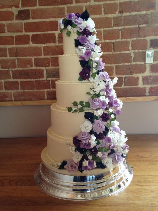 Wedding Cakes With Purple Flowers  Beautiful purple flower cascade wedding cake cake by