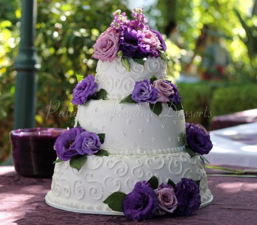 Wedding Cakes With Purple Flowers  3 tier cakes Archives Patty s Cakes and Desserts
