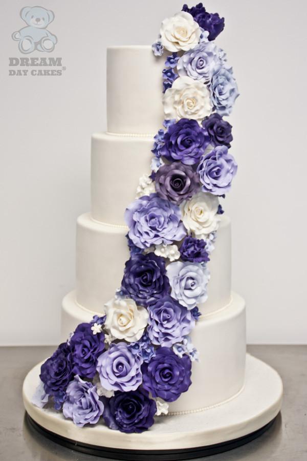 Wedding Cakes With Purple Flowers  Cascading Sugar Flowers Wedding Cake