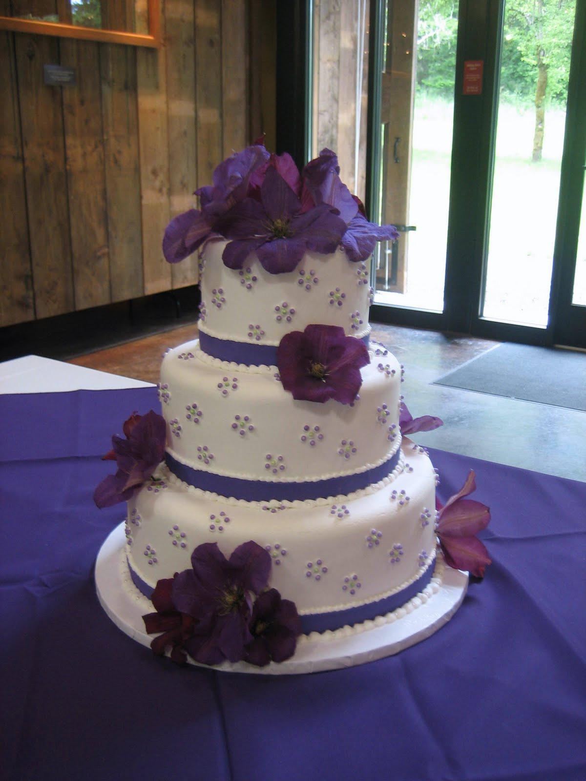 Wedding Cakes With Purple Flowers  Jillicious Discoveries Three Purple Wedding Cakes