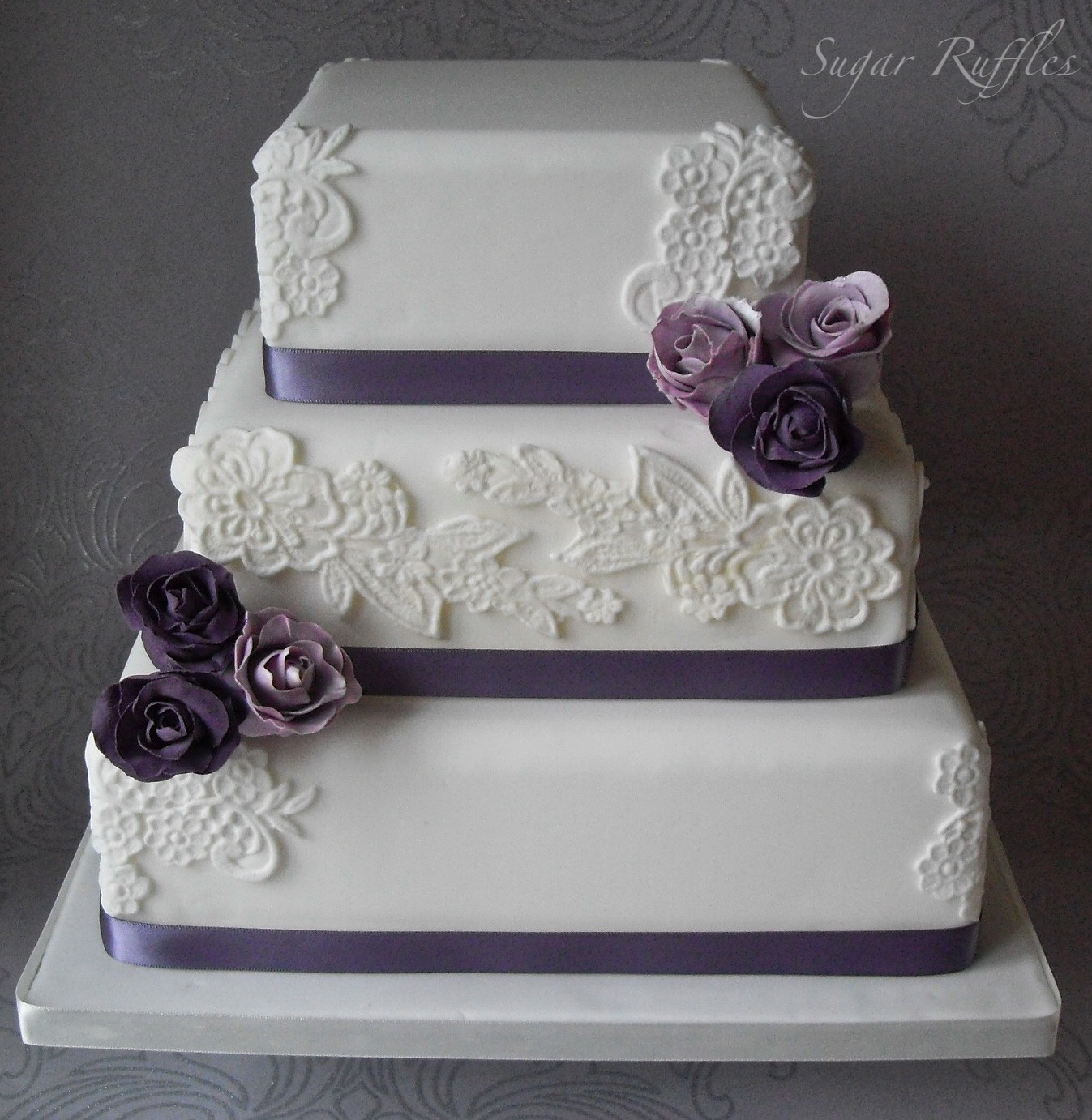 Wedding Cakes With Purple Flowers  Fall Wedding Palette Eggplant Moss and Ivory