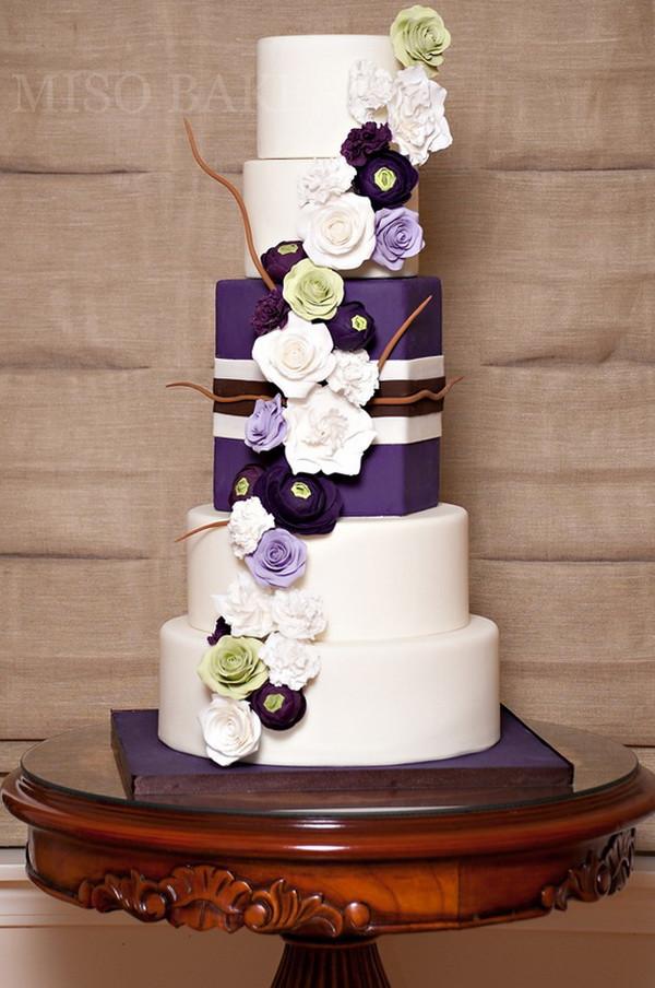 Wedding Cakes With Purple Flowers  Purple Wedding Cakes