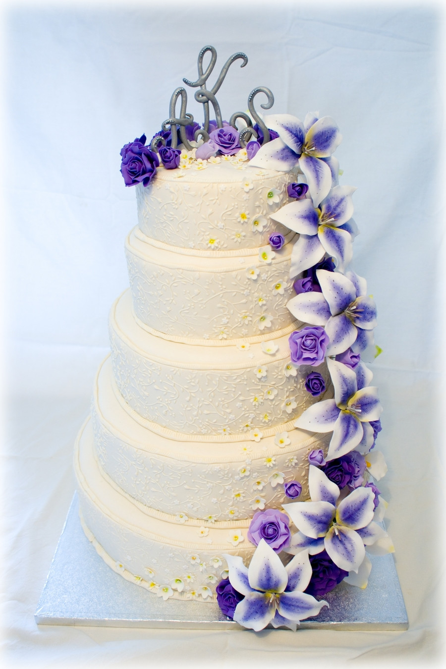 Wedding Cakes With Purple Flowers  Wedding Cake With Purple Flowers CakeCentral