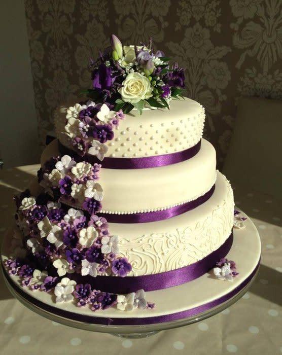 Wedding Cakes With Purple Flowers  purple flower wedding cake cake by Samantha clark