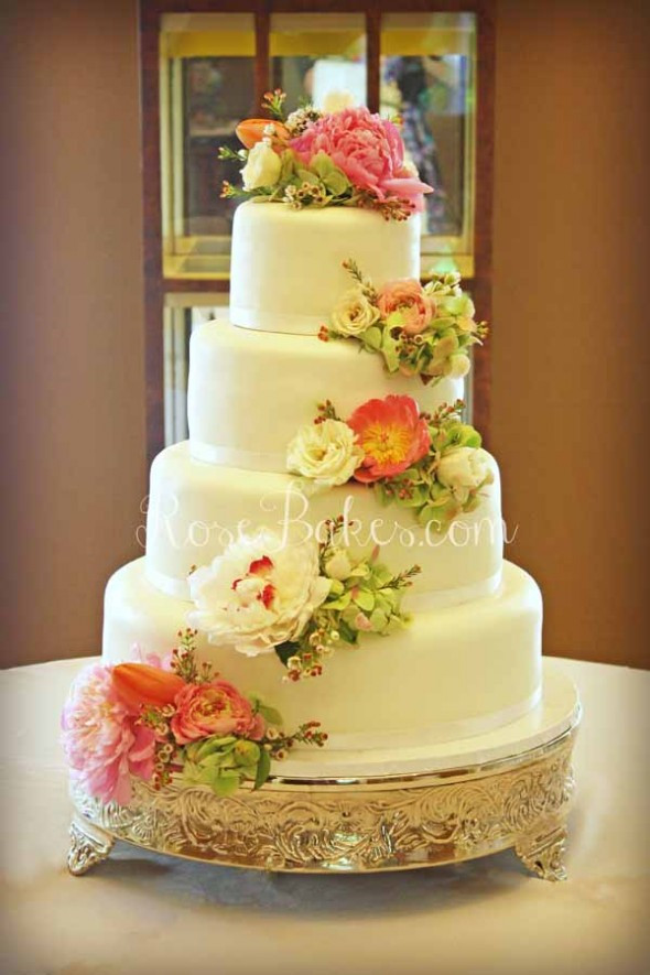 Wedding Cakes With Real Flowers  White Wedding Cake with Cascading Fresh Flowers Rose Bakes