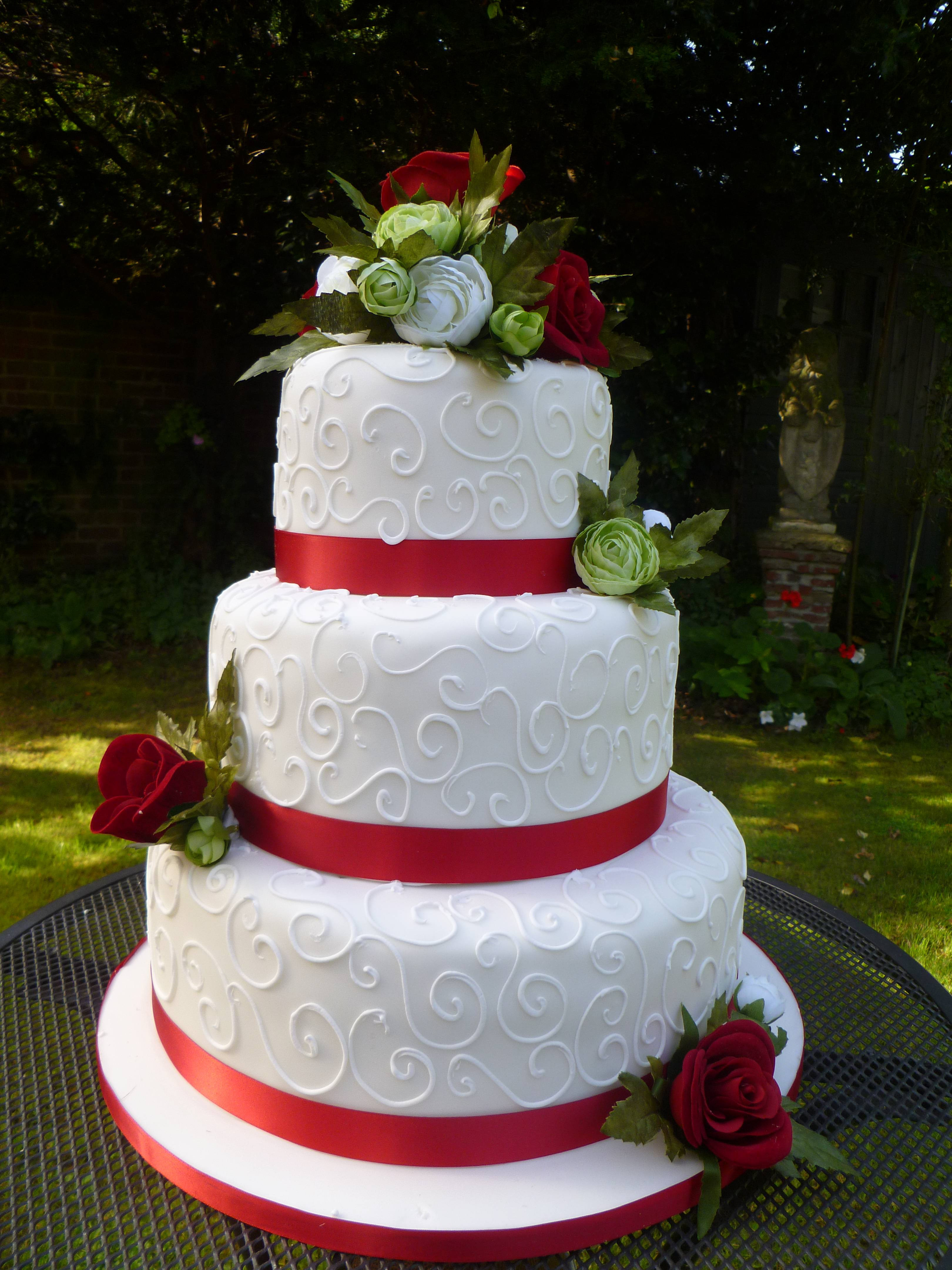 Wedding Cakes With Red  Wedding Cake