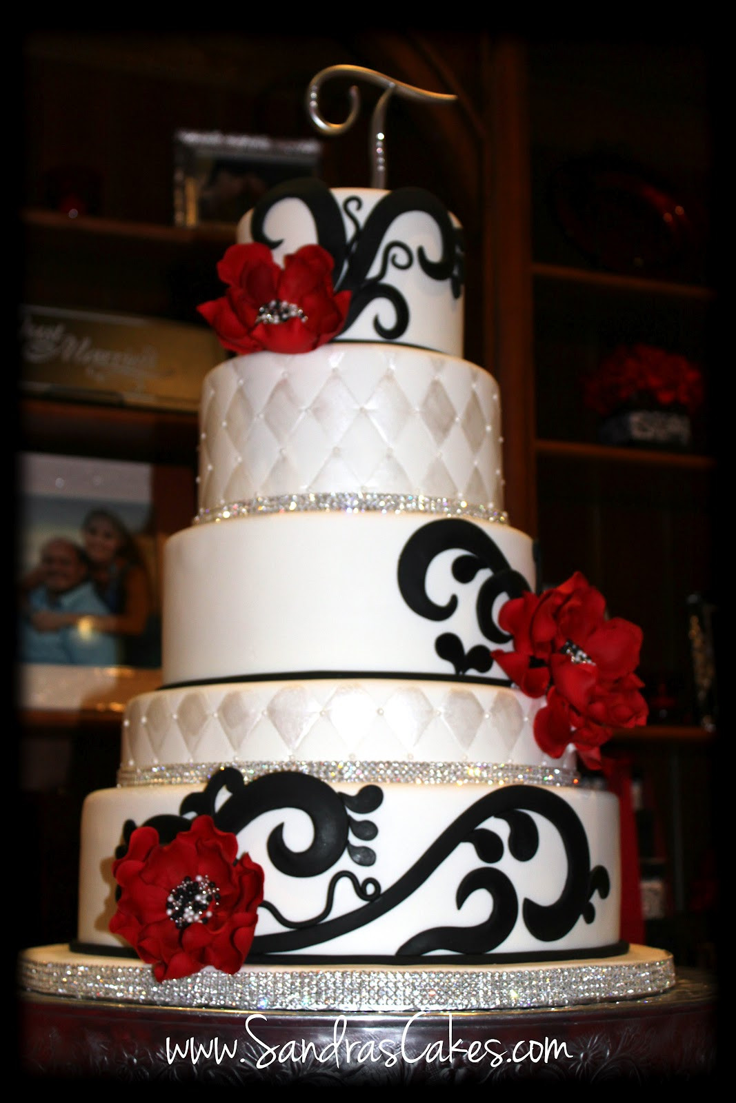 Wedding Cakes With Red  Red Black and White Wedding Cake