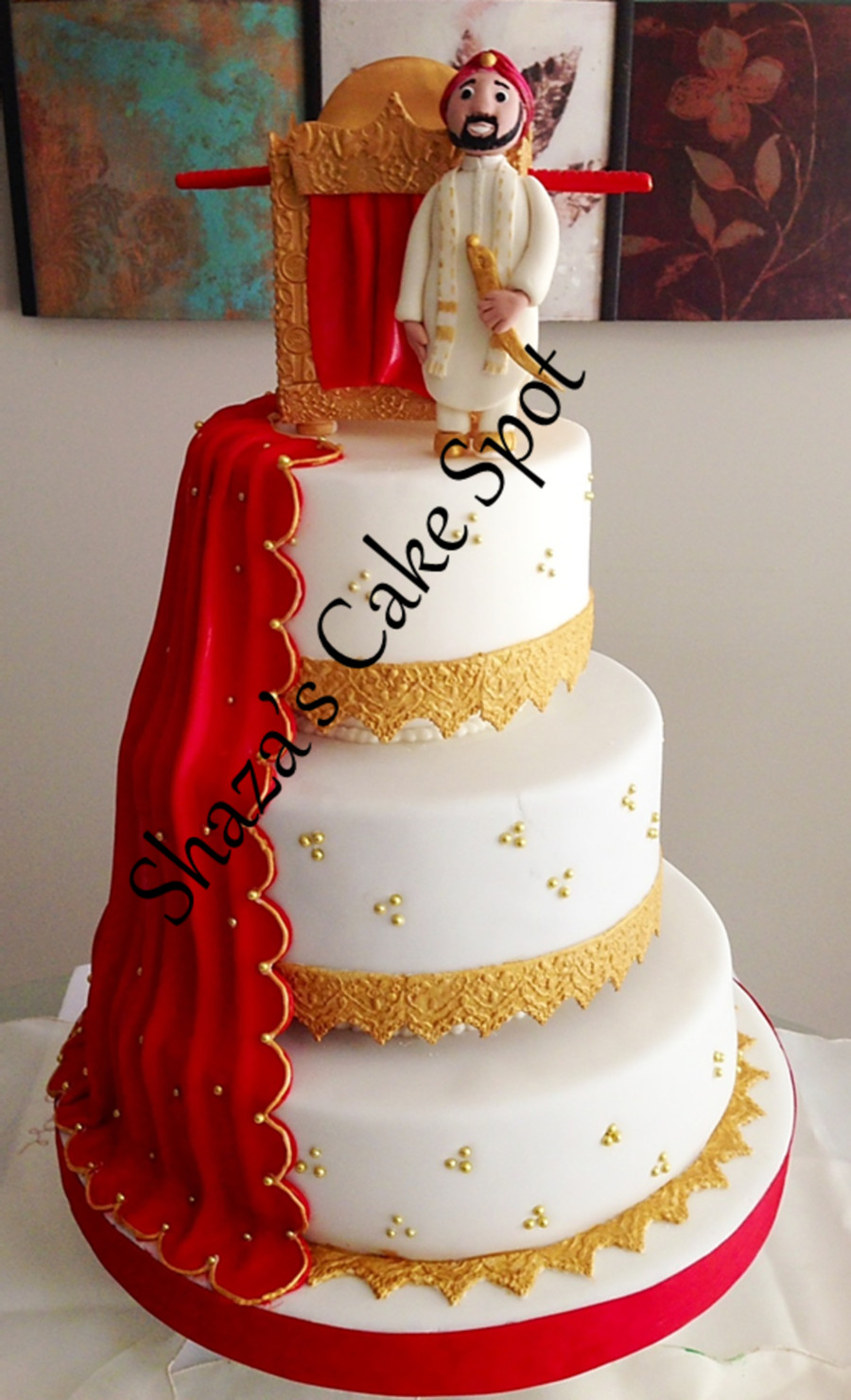 Wedding Cakes With Red  Red & Gold Wedding Cake Indian Theme CakeCentral