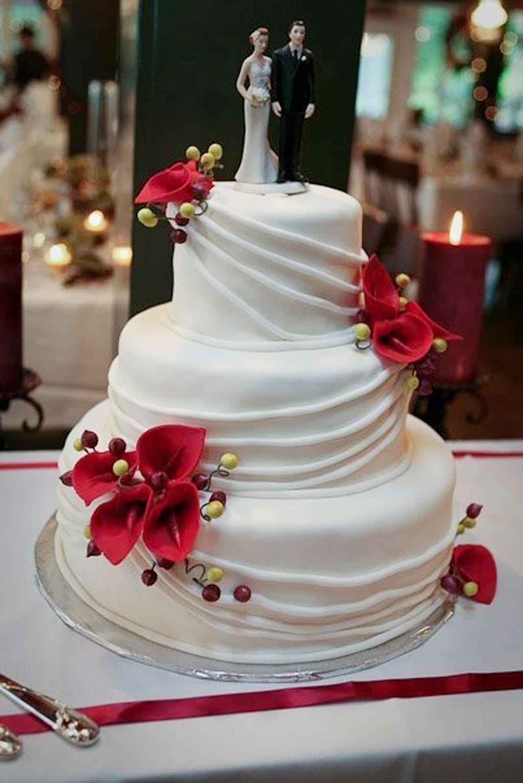 Wedding Cakes With Red  Red Calla Lily Wedding Cake Design 2 Wedding Cake Cake