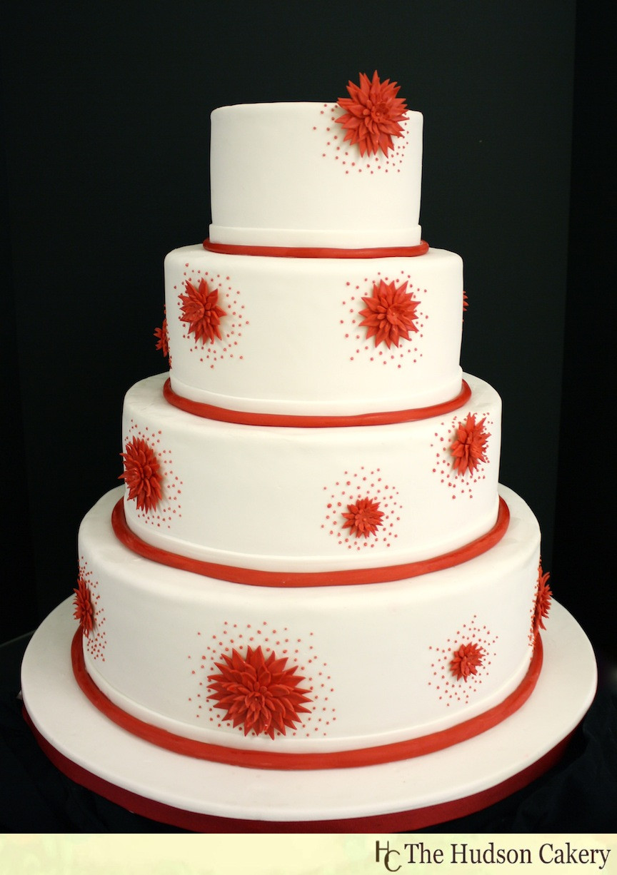 Wedding Cakes With Red  Red & White Wedding Cake