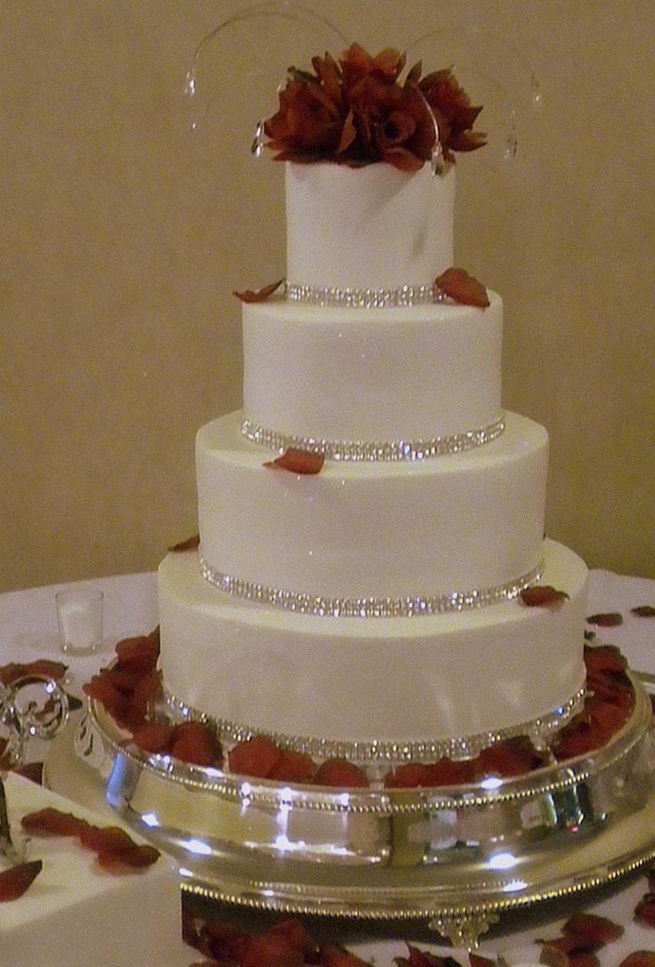 Wedding Cakes With Rhinestones  Rhinestone Wedding Cake with Red Roses