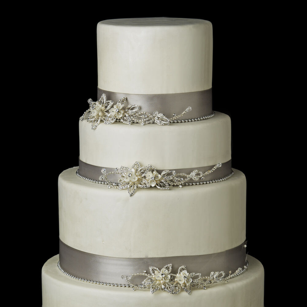 Wedding Cakes With Rhinestones  Silver or Gold Pearl & Rhinestone Floral Vine Wedding Cake