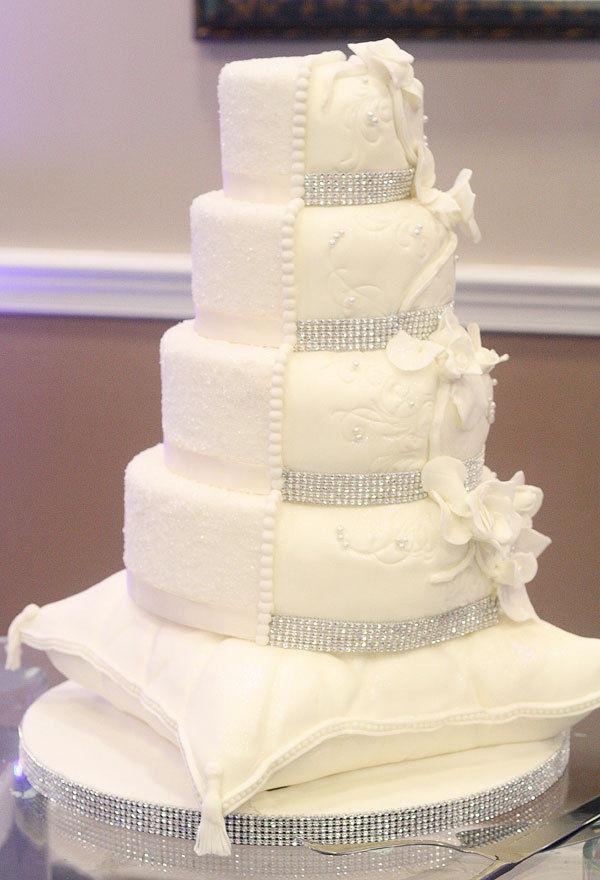 Wedding Cakes With Rhinestones  1 Foot Long 4 Row Wide Silver Rhinestone Crystal Wedding