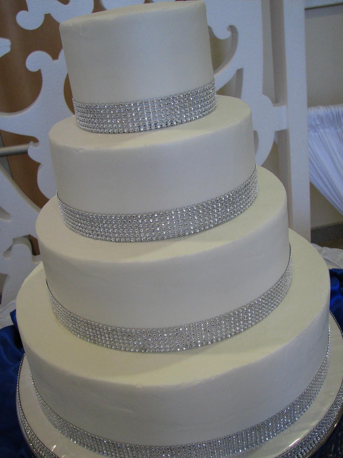 Wedding Cakes With Rhinestones  Decadent Designs Katie s Rhinestone Wedding Cake