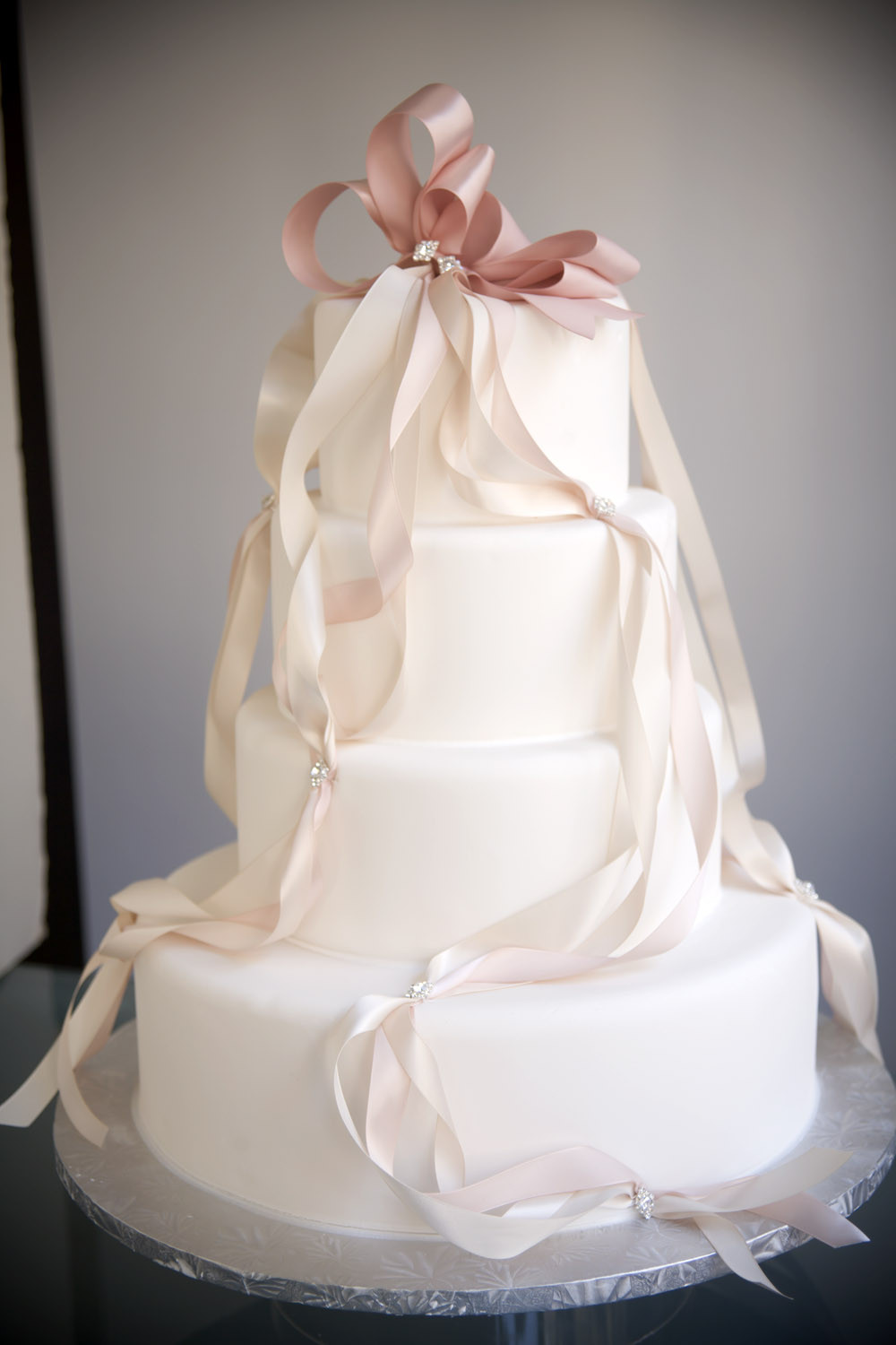 Wedding Cakes With Ribbon  A Simple Cake Crystal decorations DIY bling