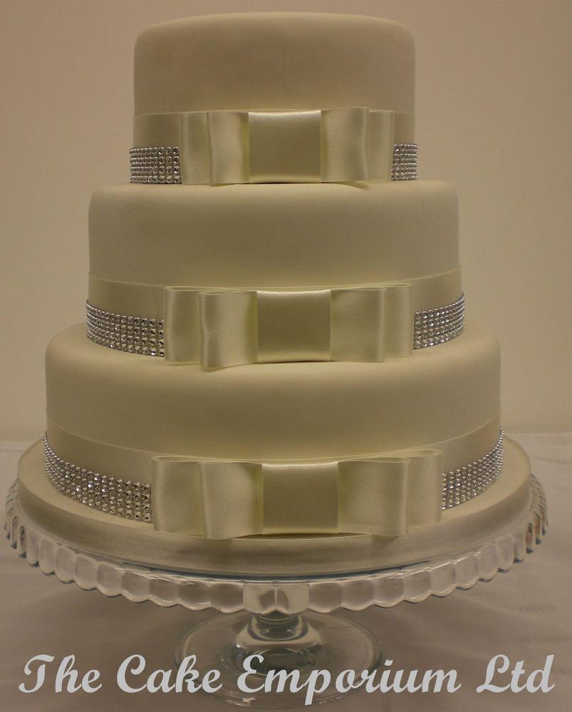 Wedding Cakes With Ribbon  WEDDING CAKE BOW SET – SATIN COLOUR RIBBON SILVER