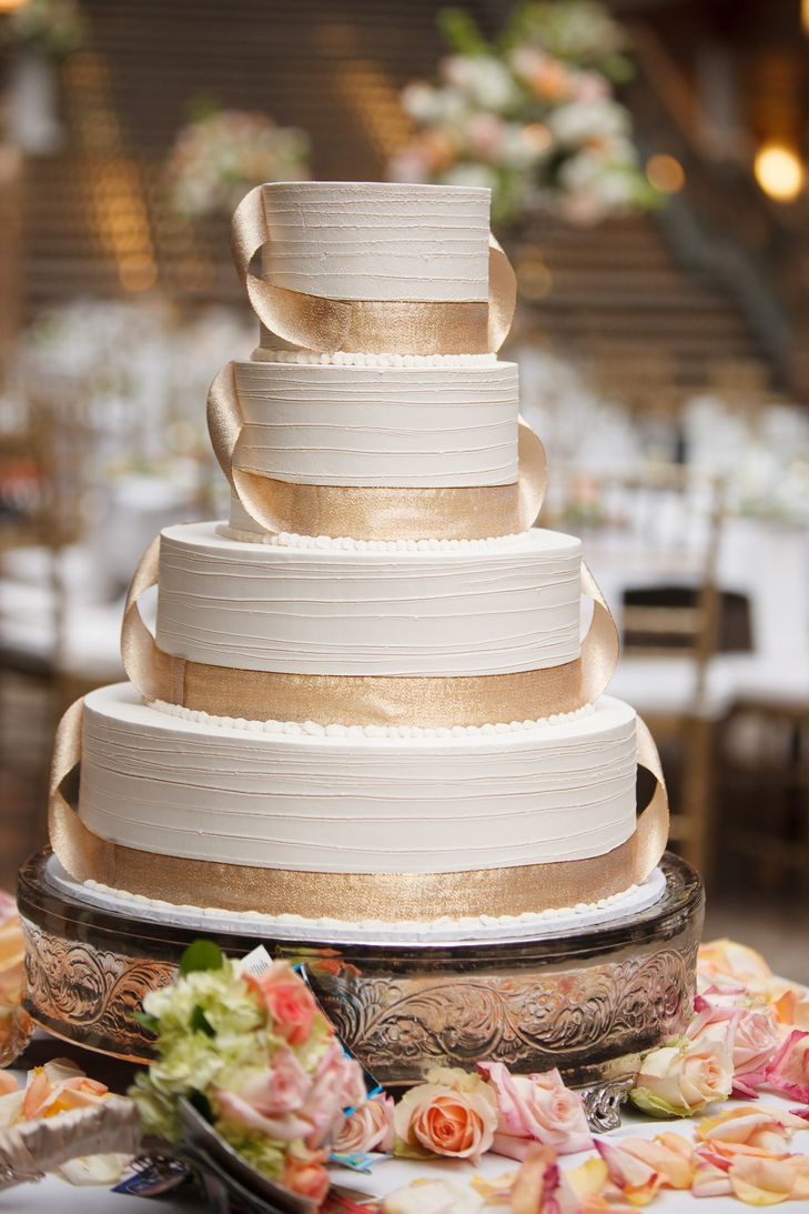Wedding Cakes With Ribbon  Ivory Wedding Cake Gold Ribbon