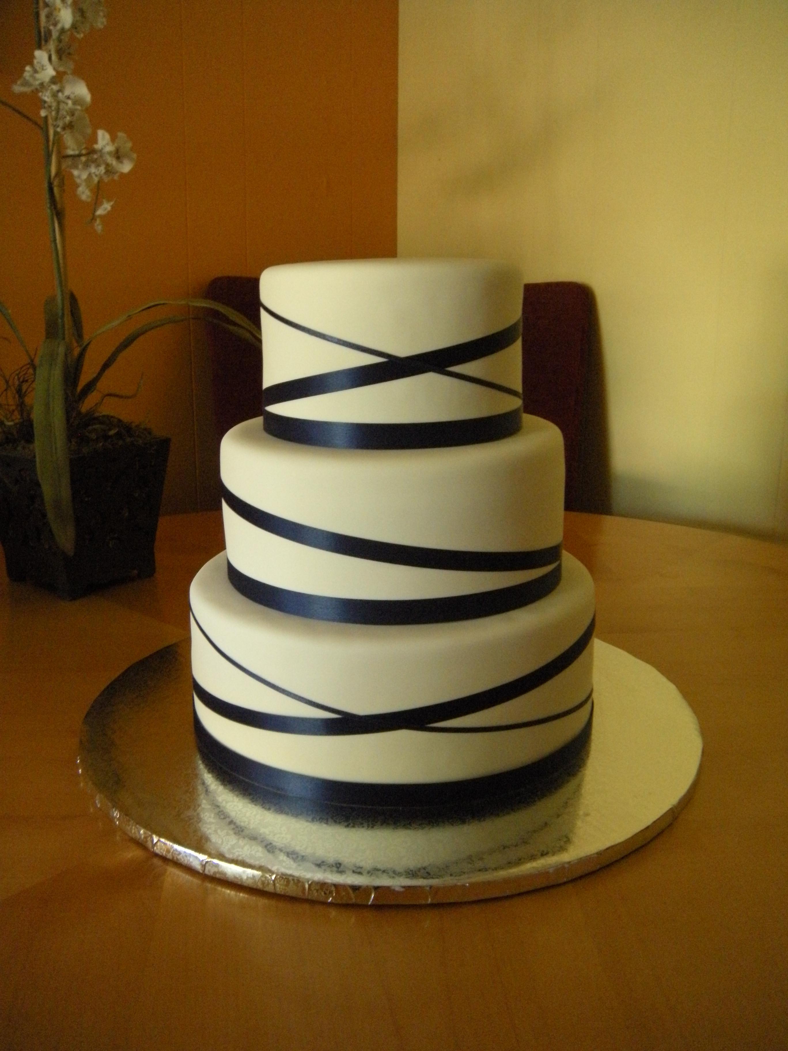 Wedding Cakes With Ribbon  White Fondant with Blue Ribbon Wedding Cake