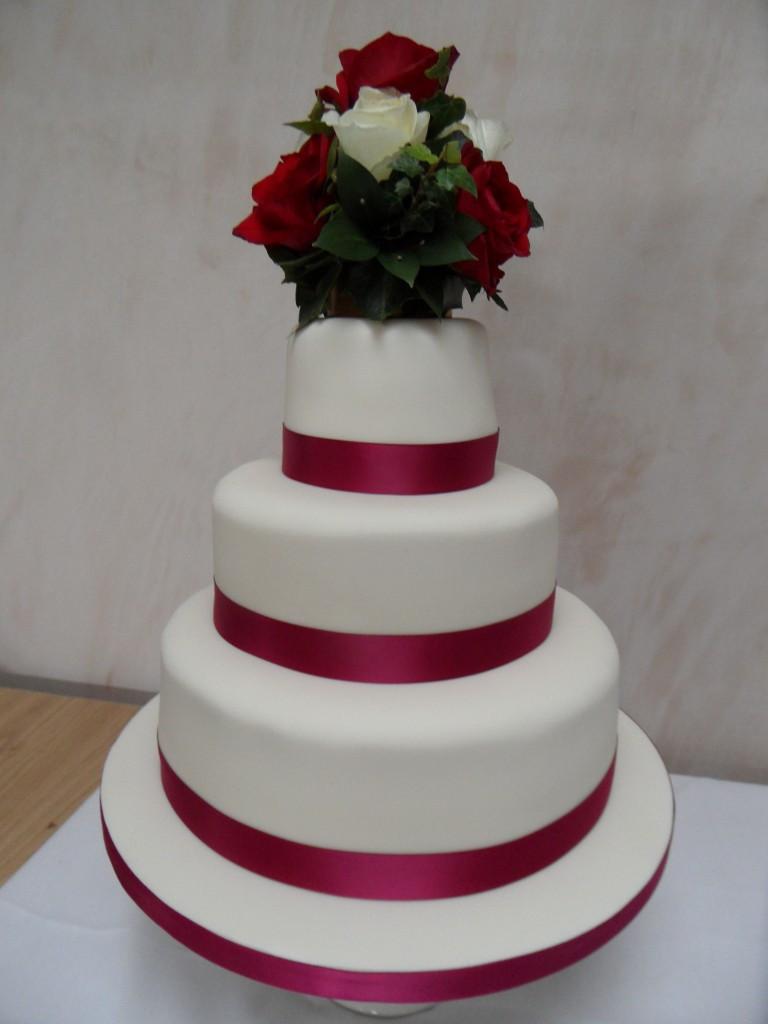 Wedding Cakes With Ribbon  Ruby Red Ribbon Wedding Cake Georgina s Cakes