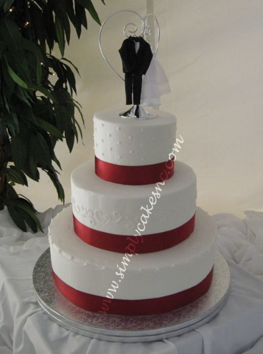 Wedding Cakes With Ribbon  Buttercream Wedding Cake With Satin Ribbon CakeCentral