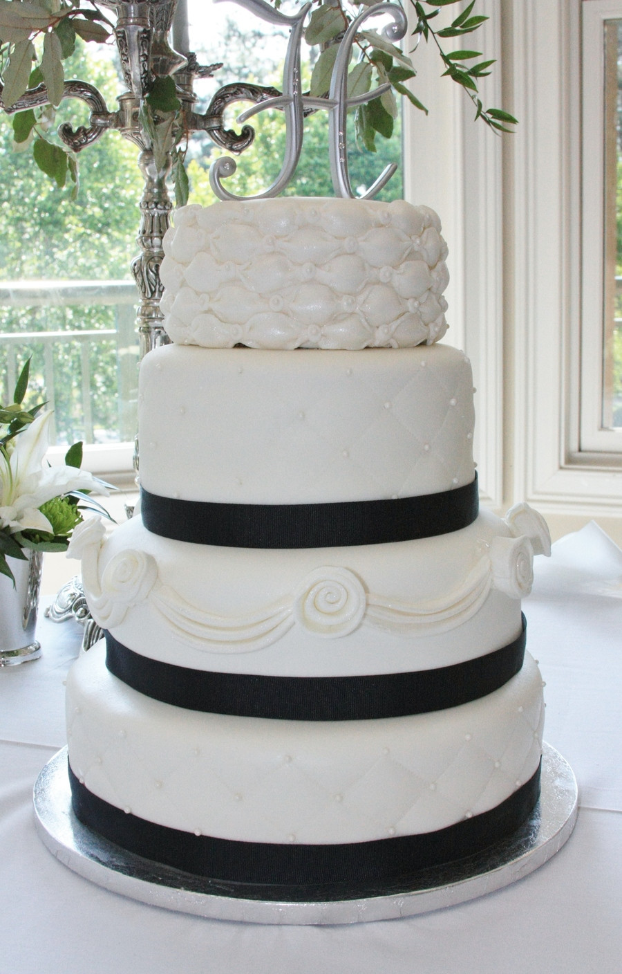 Wedding Cakes With Ribbon  Wedding Cake W Navy Ribbon CakeCentral