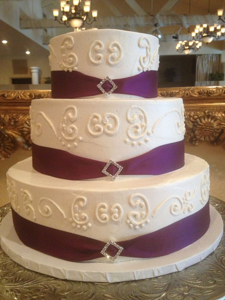 Wedding Cakes With Ribbons  Plum purple ribbon border with rhinestone decoration