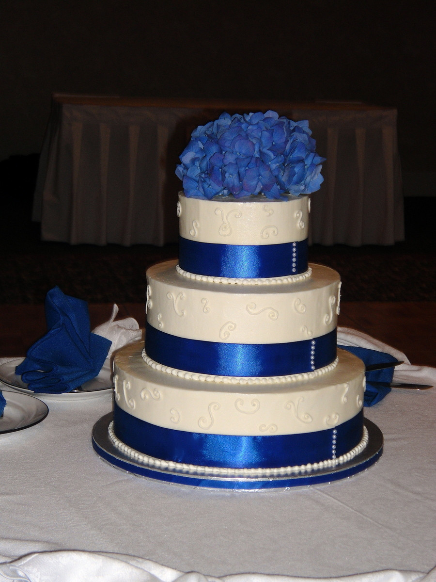 Wedding Cakes With Ribbons  Blue Ribbon And Pearl Wedding Cake CakeCentral