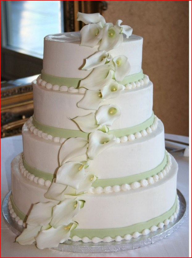 Wedding Cakes With Ribbons  White Butter Cream Wedding Cakes With Flowers and Ribbon