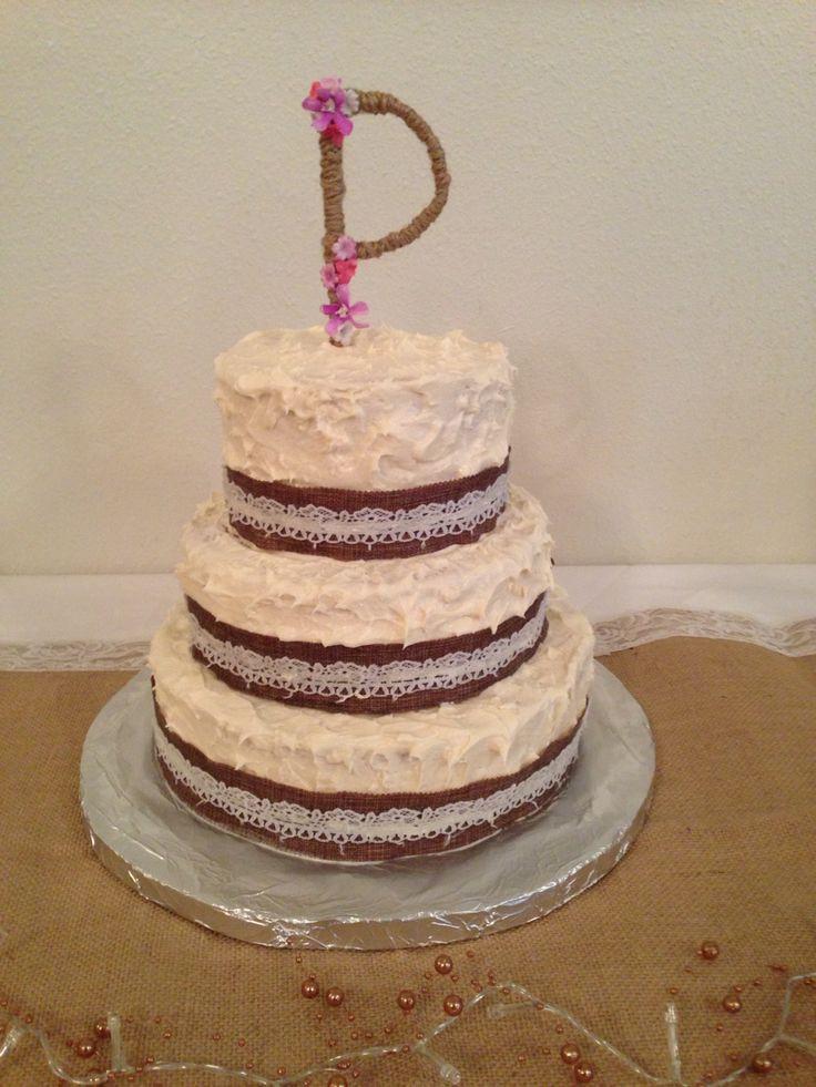 Wedding Cakes With Ribbons  Gorgeous wedding cake burlap ribbon and handmade initial