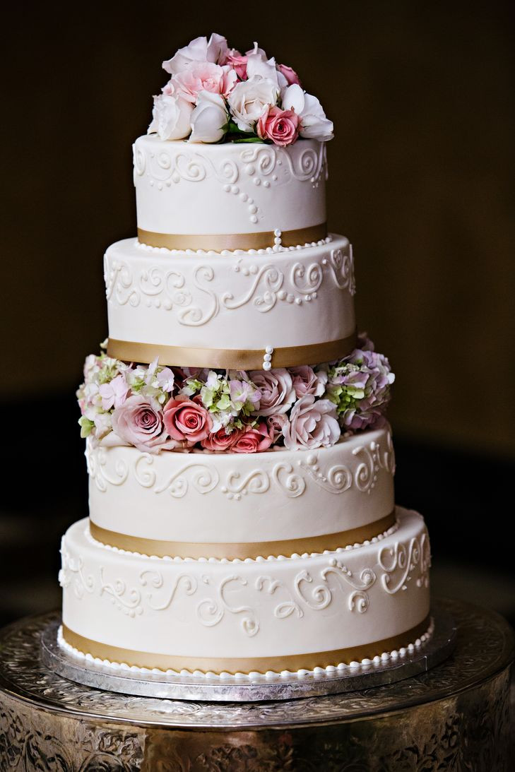Wedding Cakes With Ribbons  White Wedding Cake with Gold Ribbon and Flowers