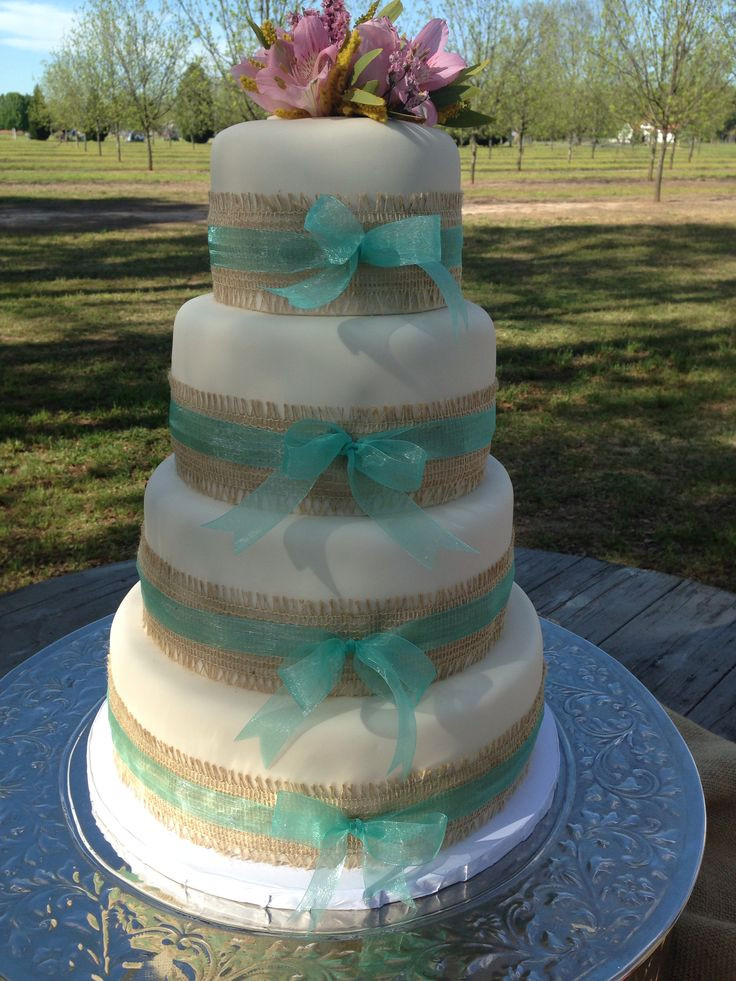Wedding Cakes With Ribbons  Burlap and ribbon wedding cake Kuirky Cakes
