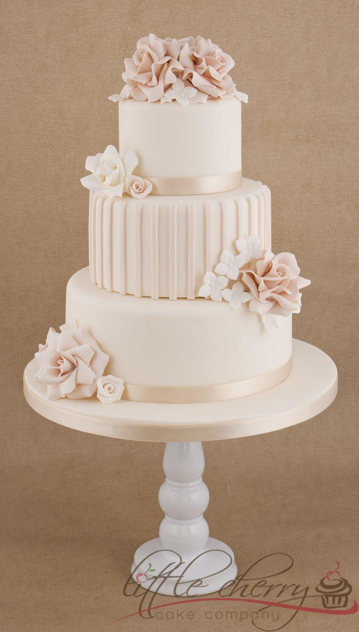 Wedding Cakes With Roses  Cake Roses And Stripes 3 Tier Wedding Cake