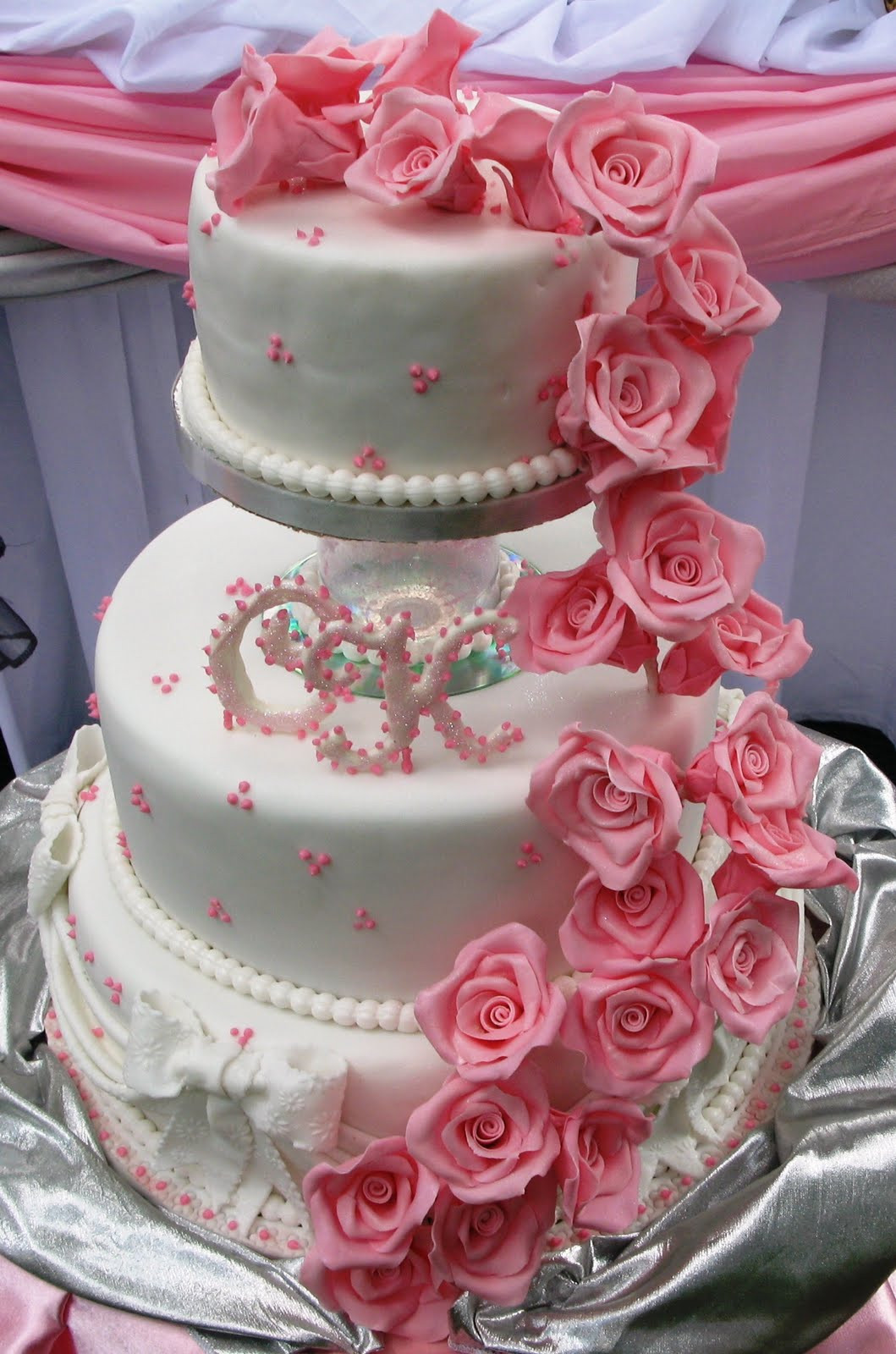 Wedding Cakes With Roses  Sugarcraft by Soni Three Tier Wedding Cake & Roses