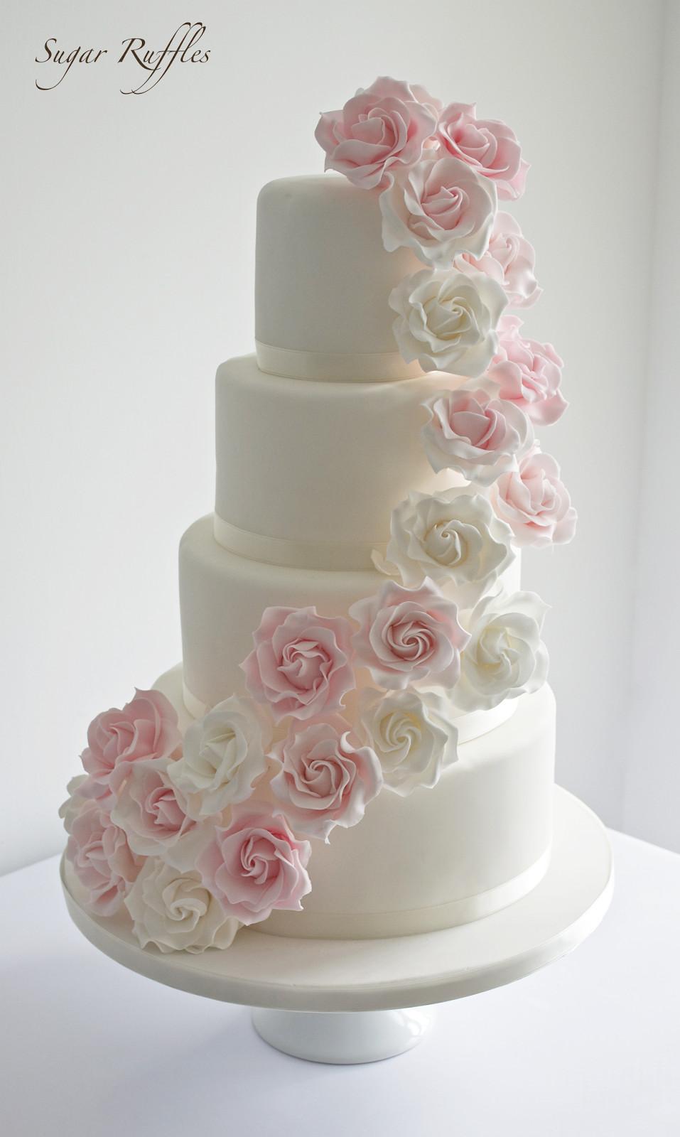 Wedding Cakes With Roses  Pink rose cascade wedding cake